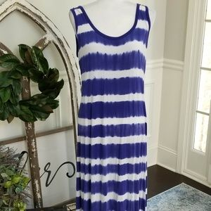 Calvin Klein Blue and White Maxi Dress Size 12